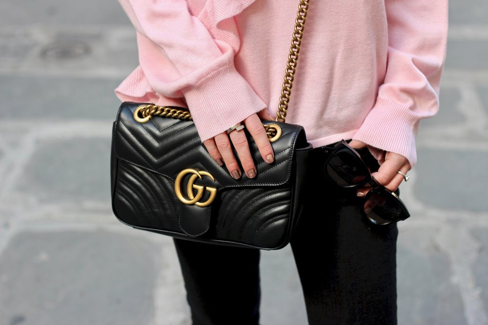 Gucci Bag and pink ruffle top for valentines day by Au Courant Life