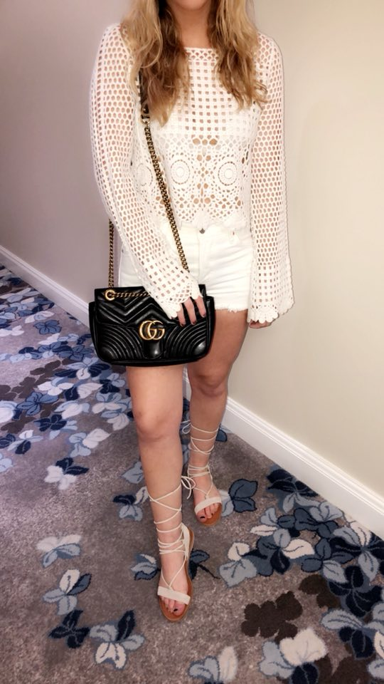 Chinese laundry sandals, Gucci Marmont bag, Lulu's crochet top, Levi's shorts