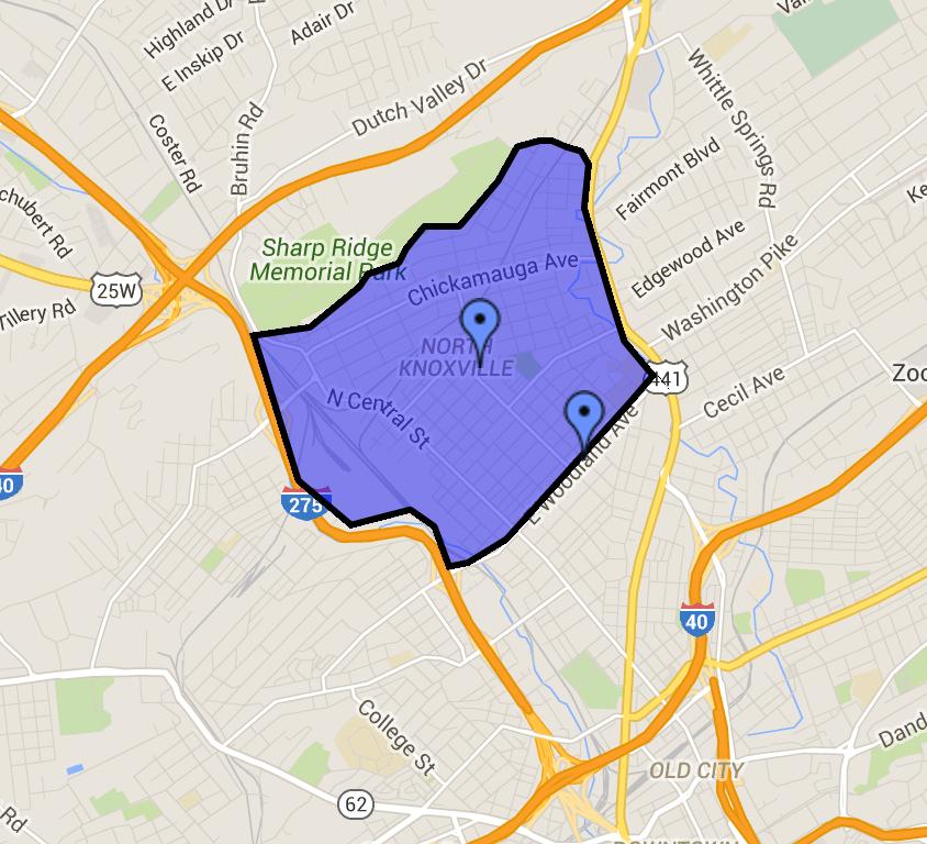 Map of Oakwood-Lincoln Park Neighborhood.