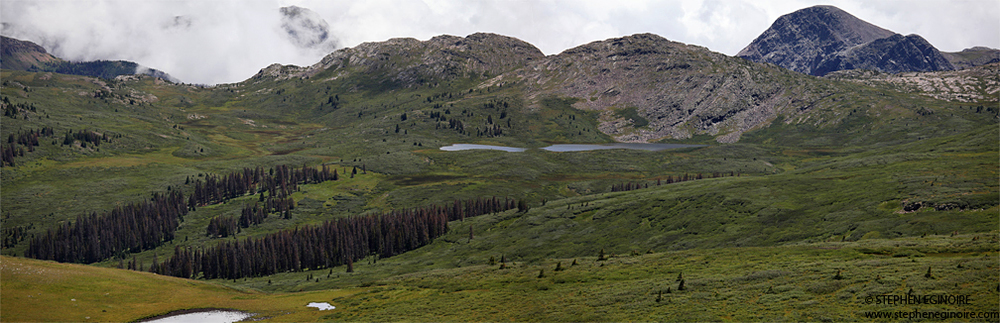 A view of Twin Lakes.  Note: The CDT (813) branches off to the east at Twin Lakes. Be sure to pick up the Rock Creek Trail (655) continuing south towards Rock Lake.