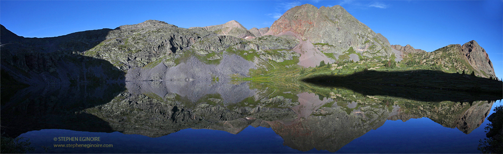 Reflection of Peters Peak (13,122') in Rock Lake.