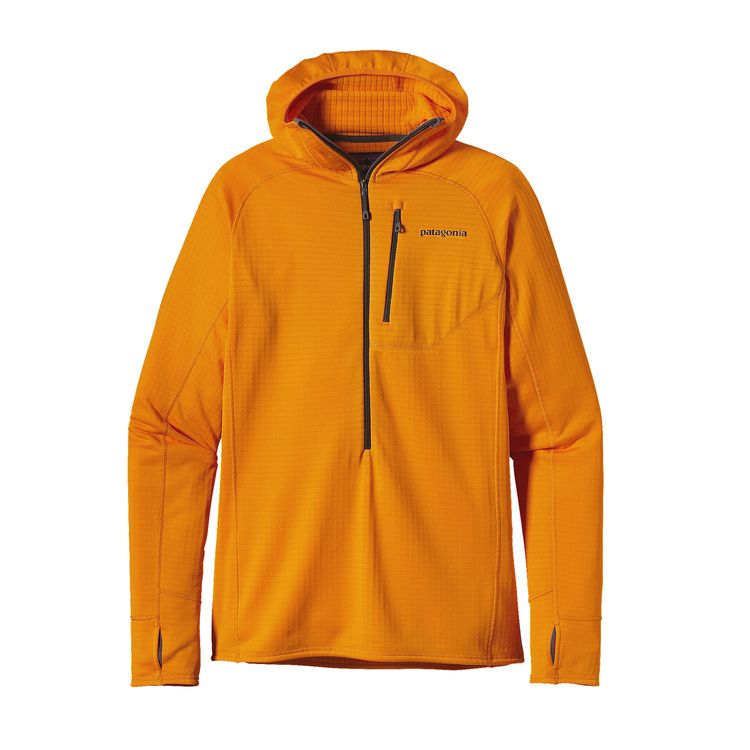 Its high/low grid interior (Polartec® Power Grid™ polyester) is key to the hoody's versatility, and the highly refined fabric—the lightest and most breathable iteration ever—remains exclusive to Patagonia. It stretches, traps heat and compresses to practically nothing, with the pared-down but versatile features climbers and backcountry skiers need: a snug-fitting balaclava-style hood, a minimalist deep-venting front zipper with a soft zipper garage that keeps your chin comfy, and a Variable Conditions Cuff with discreet on-seam thumb holes and a spiral-stitch construction so you can push up the sleeves with no ensuing forearm pump.
