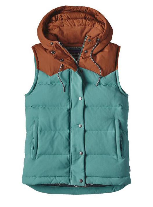 Defy capricious conditions with the Bivy Hooded Down Vest, a versatile workhorse for trail slogs or raised-bed harvesting. Wind- and water-resistant, it's made of sturdy, pliable nylon canvas with a DWR (durable water repellent) finish on the shoulders. Insulated with 100% recycled down reclaimed from used down products, the vest has wide baffle construction and plush inside trim for toasty warmth. Its insulated hood adjusts with contrast drawcords that look like climbing ropes, and the center-front zipper tucks under a wide metal snap placket. Details include contrasting western-style yoke shoulders, side-entry handwarmer pockets and secure inner chest pocket with fun inside print. Slight drop-tail hem.