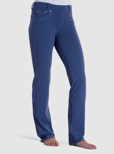 The KÜHL MØVA STRAIGHT™ pant features KONTOUR™ fabric, a soft and durable stretch nylon made to look like woven fabric for texture and appeal. KONTOUR™ fabric holds its shape for a flattering, feminine fit.  A contoured waistband and KühlKURVE™ fit make the MØVA STRAIGHT extremely comfortable. The internal draw cord provides a custom fit, and the faux fly makes for easy on/off. 5-pocket jean styling adds flair.  The MØVA STRAIGHT is fitted through the hips and upper thigh and looser through the knee and lower leg.