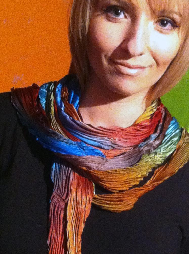 Arashi Shibori dyed silk petal scarf.