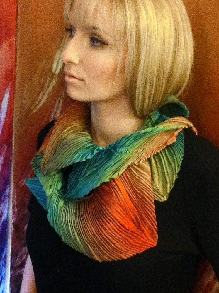Arashi Shibori pleated silk petal scarf.