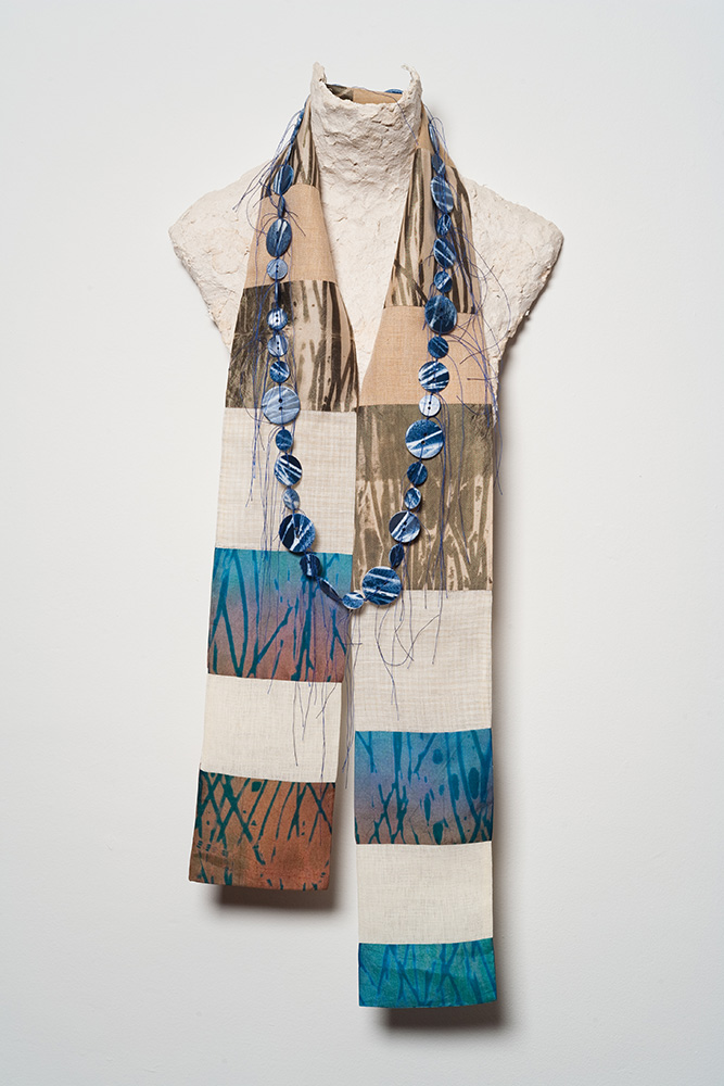 Arashi Shibori dyed, discharged and pieced silk scarf. Hand painted and knotted button necklace.
