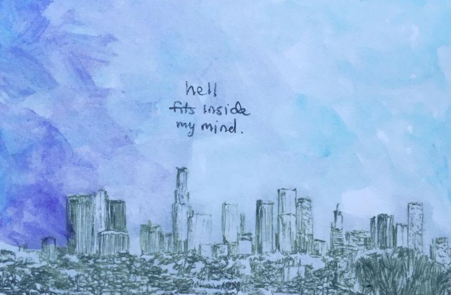 """Hell Fits Inside My Mind - David Brookton - $5.00 - 4""""x6"""" Postcard"""