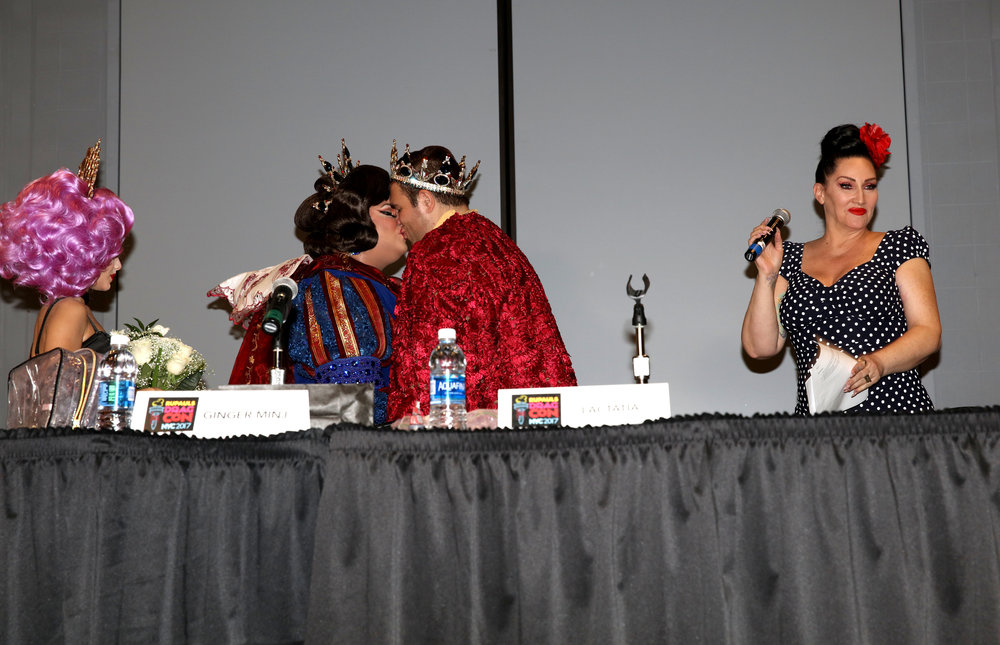 Ginger Ming marries her fiance, CJ, as Michelle Visage officiates at RuPaul's DragCon NYC.JPG