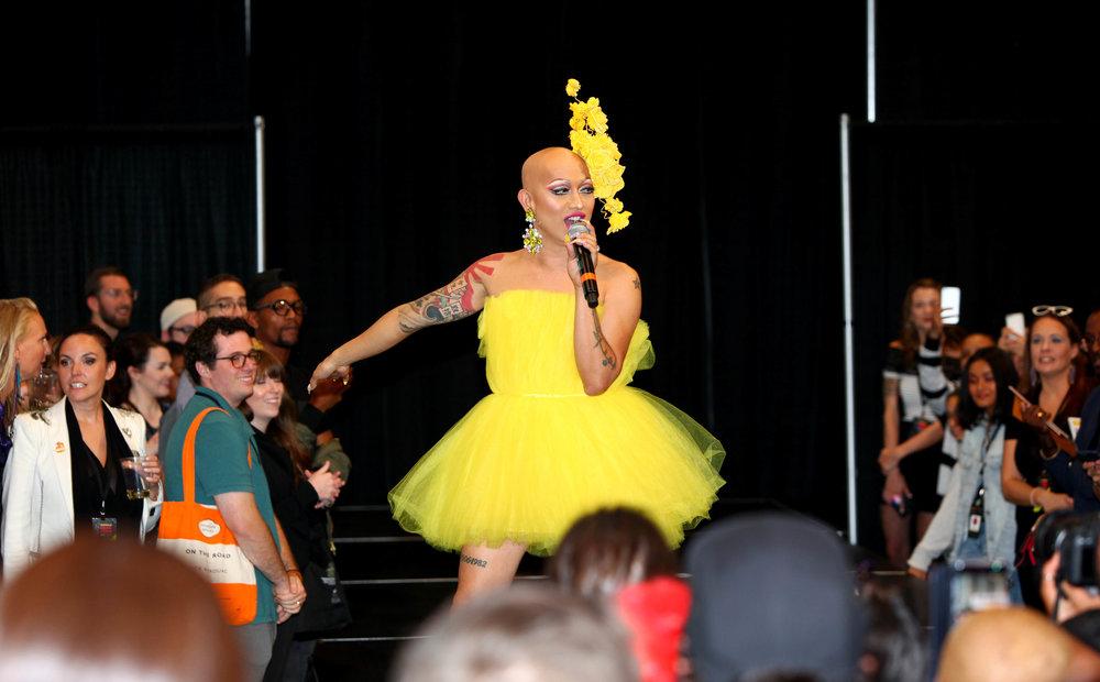 Ongina hosts Sissy That Walk_Runway Walkoff at RuPaul's DragCon NYC 1.JPG