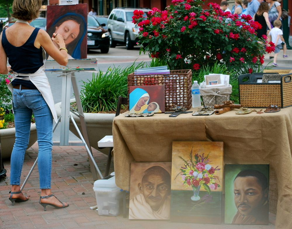 April brings local talented artists to the square.