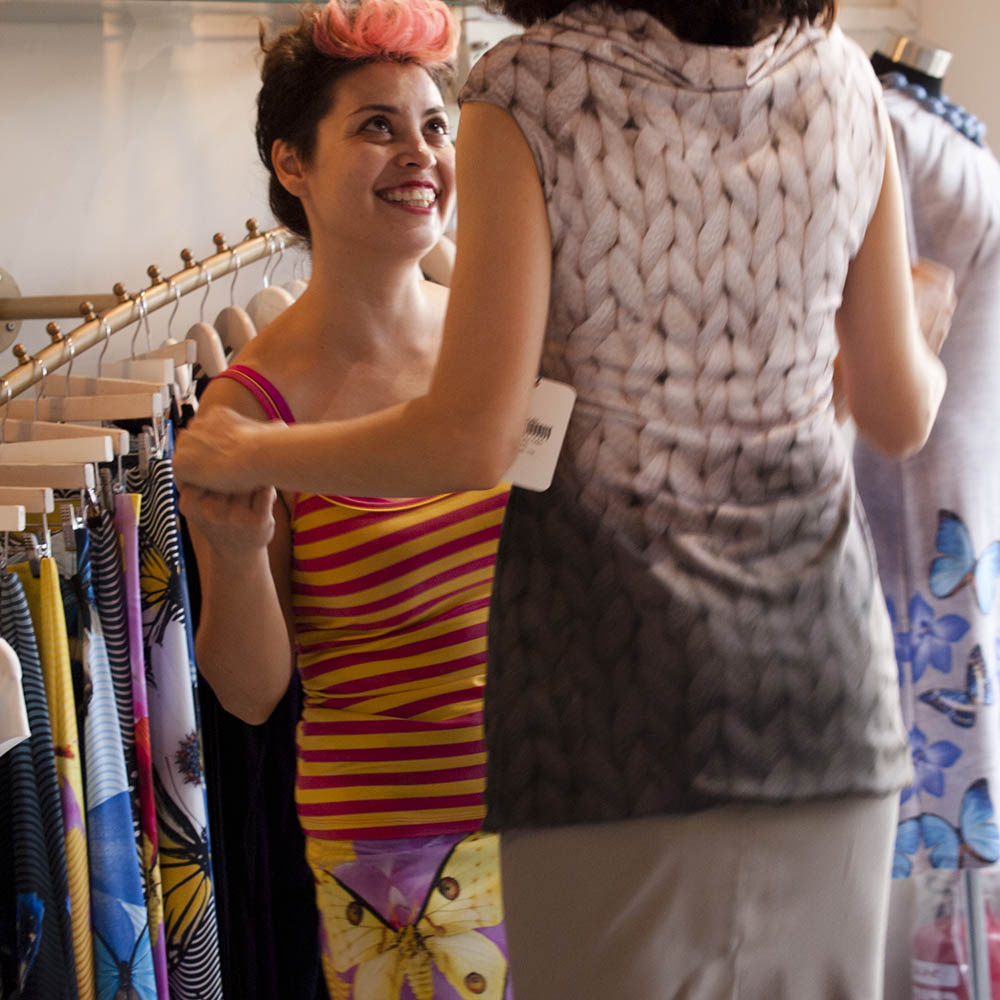 Helena Blaunstein of Frau Blau helps a fashionable client. Photo by and © Vision Studio