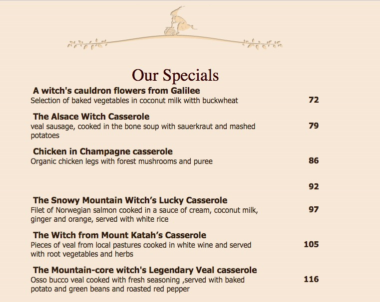 Witch's Cauldron and the Milkman menu. Image courtesy the restaurant
