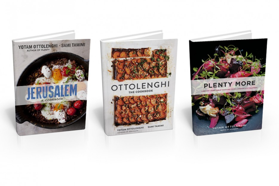 Cookbooks by Yotam Ottolenghi and Sami Tamimi.