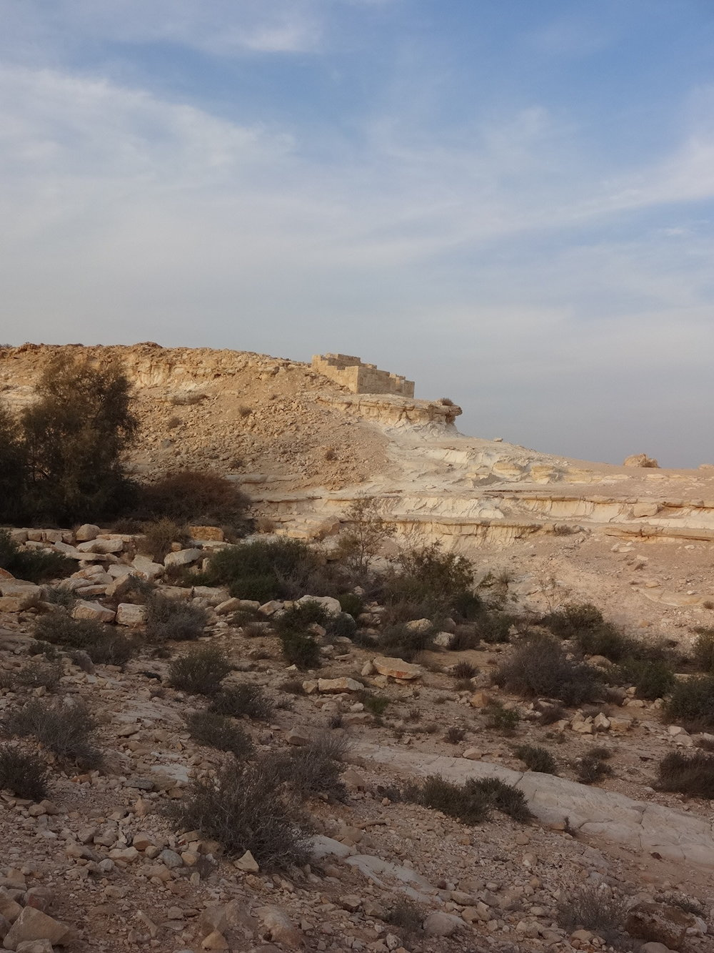 Remnants of a Nabatean lookout at Avdat. Jossef explained that there was access to a very deep acquafir here, and that ancient, skilled culture always guarded the most precious resource in the desert: water.