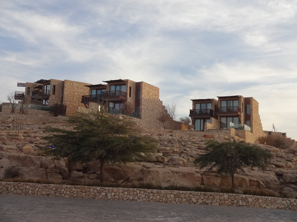 The design for the spacious all-view villas at the Beresheet Hotel is inspired by the Nabatean fortresses that appear throughout this region.