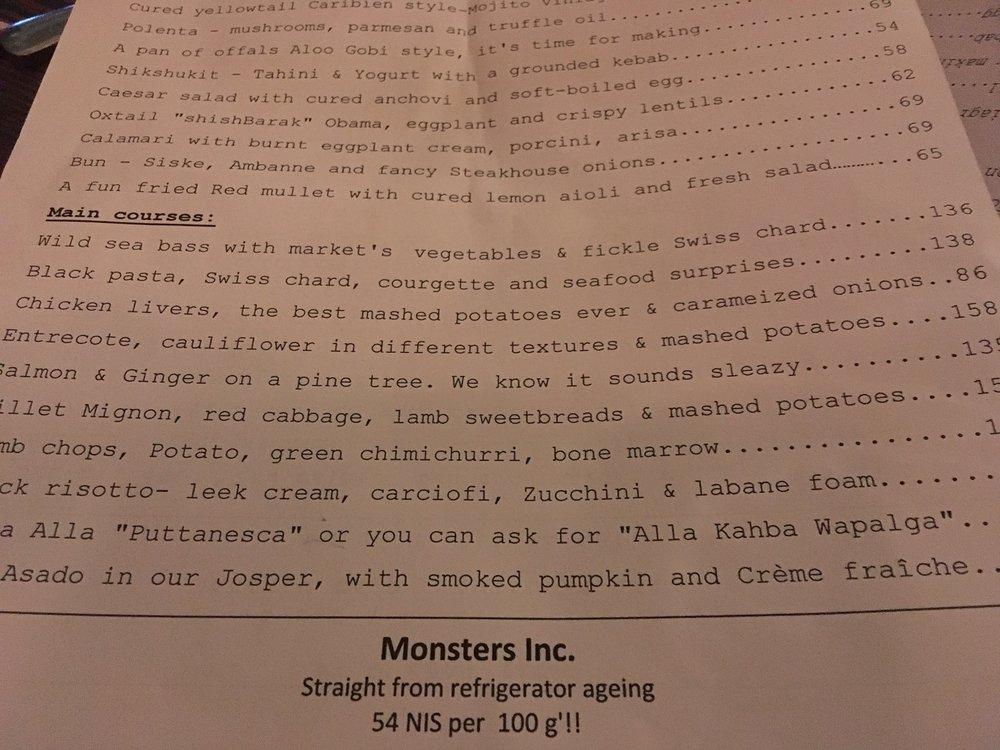 Machneyuda restaurant menu