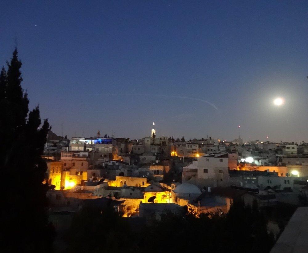 Jerusalem, sunrise/moonrise from my balcony at the Austrian Hospice