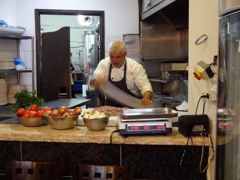 Preparing lamb kebab, Diana restaurant