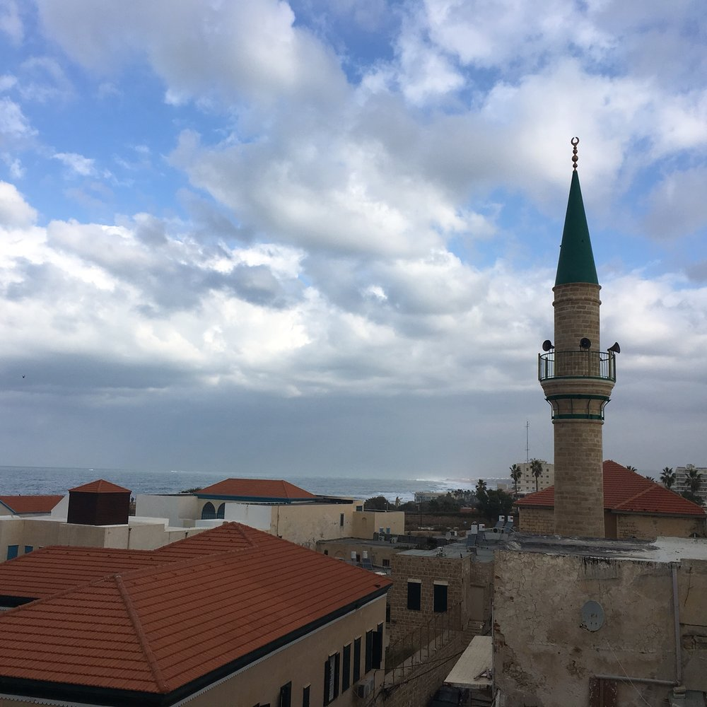 View from the Effendi Hotel in Akko listening to the waves, remembering the flavors of last night's tasting menu at Uri Buri