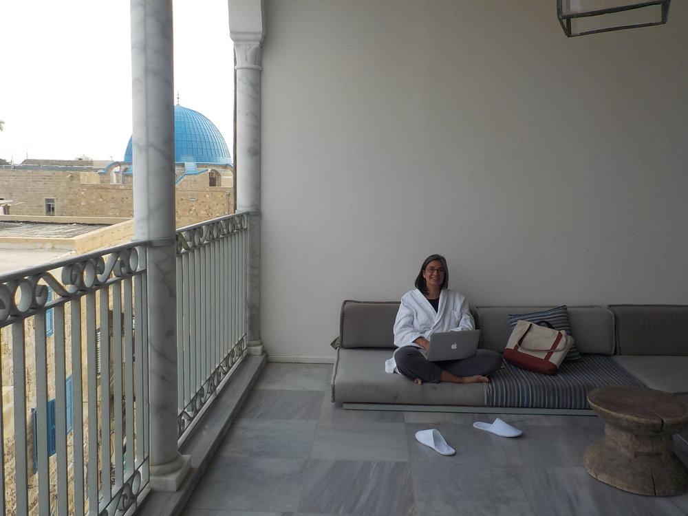 Michelle Dunn Marsh blogging from the Effendi Hotel, Akko