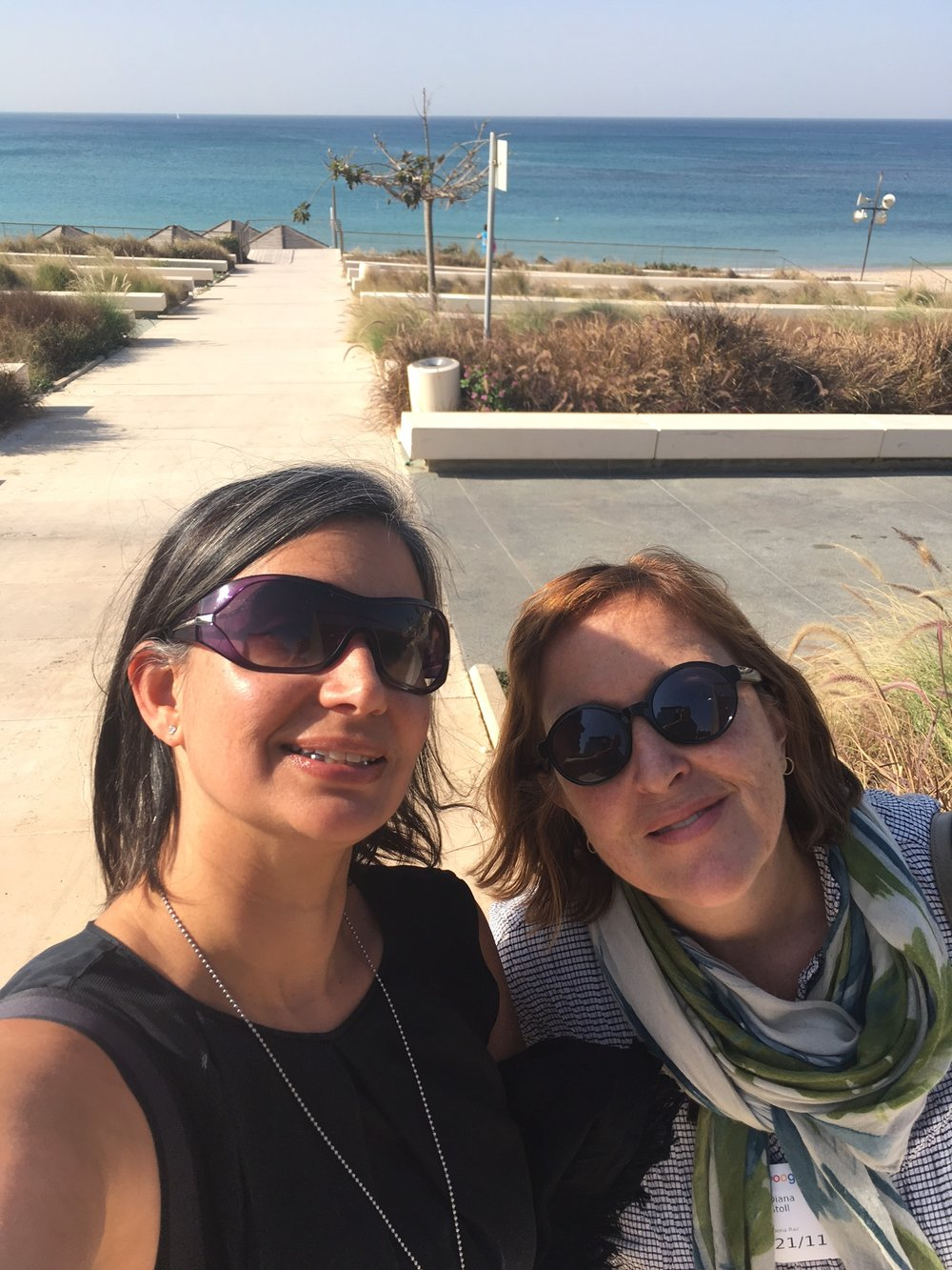Michelle and Diana outside Peres Peace Center