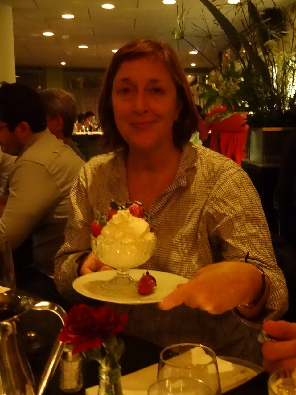 Diana's delicious fresh strawberries and creme fraiche at Chakra in Jerusalem