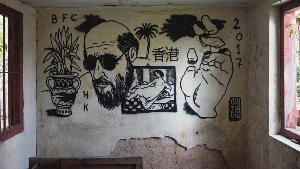 Broken Fingaz' Unga recently did this drawing in Hong Kong. Photo via Facebook