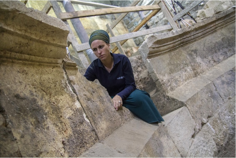 Archeologist Tehilla Lieberman in the newly discovered Roman theater near the Western Wall. Photo courtesy of Israel Antiquities Authority