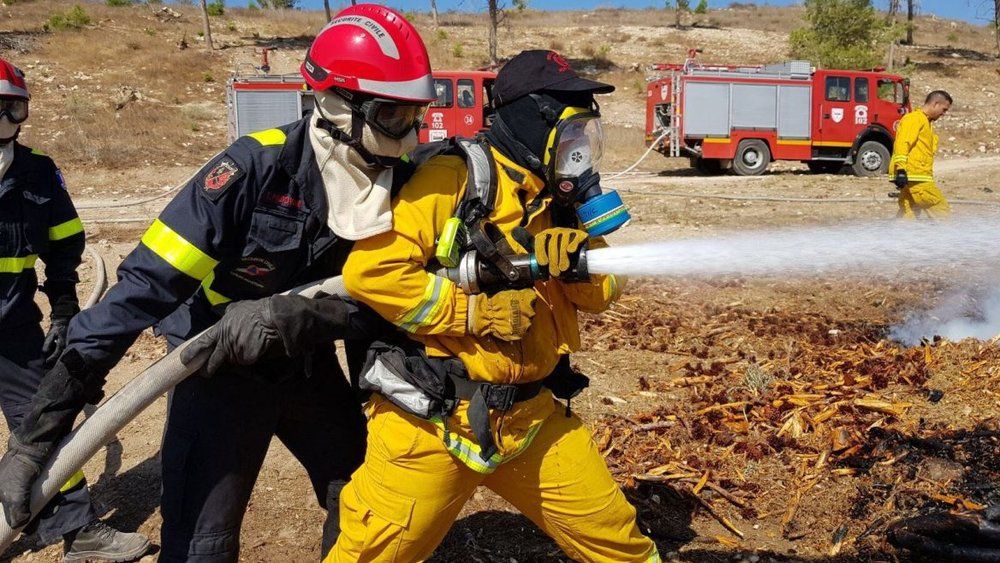 Firefighters participating in a joint Middle East Forest Fires drill in Israel, October 25, 2017. Photo courtesy of Israel Firefighting and Rescue Authority