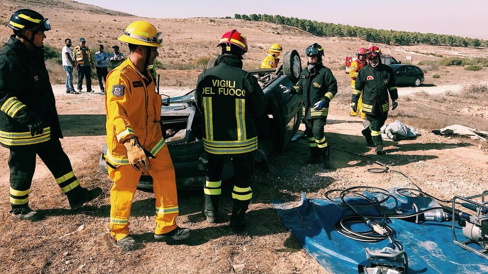 Firefighters from Jordan, Israel, the Palestinian Authority, Italy, France and Spain participating in a joint drill in Israel, October 24, 2017. Photo by Omer Shapira