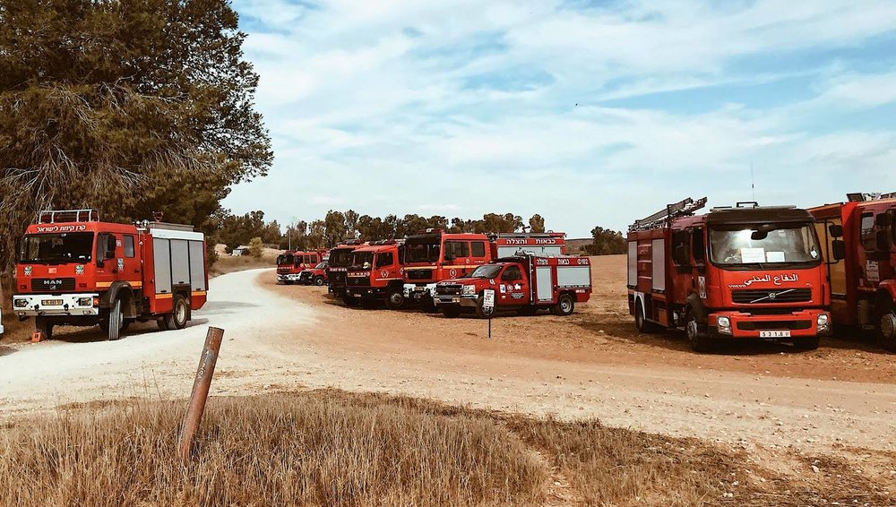 Firefighting vehicles from participating countries came to Israel for the joint forest fire drill. Photo by Omer Shapira