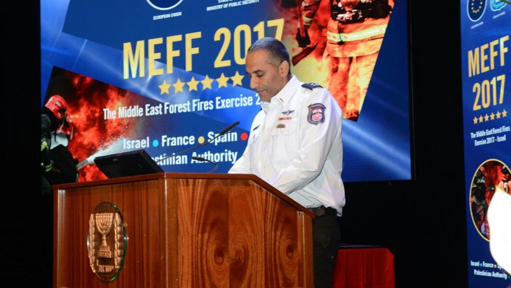 Israel Fire and Rescue Authority Fire Commissioner Lt. Gen. Dedi Simhi speaking at the joint Middle East Forest Fire drill. Photo: courtesy
