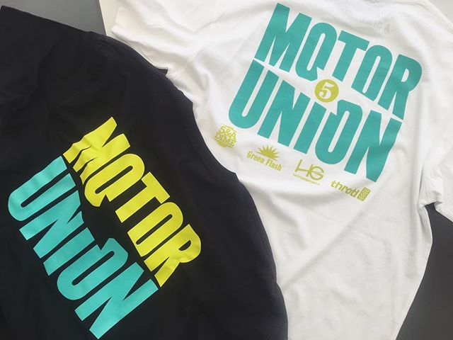 New MU tees are ready for tomorrow.  White tee is for the entrants and black tee is for general release.  @greenflashbeer @throtl @hgmotorsports @5andadime #motorunion5 #carshow #greenflashbrewing #motorunion