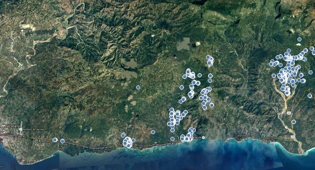 Here is a map of all the locations where purifier usage was captured in Haiti.