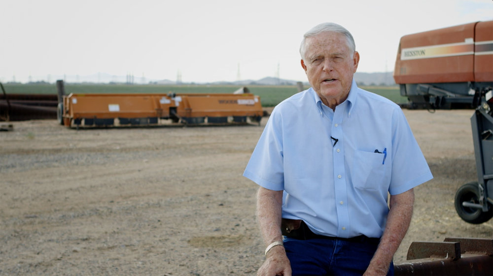 Ron Rayner  co-owns and has farmed the A-Tumbling-T Ranches in Goodyear, Arizona for the past fifty years. Ron has won numerous awards for his farming innovations and environmental stewardship, and is a former president of the National Cotton Council.