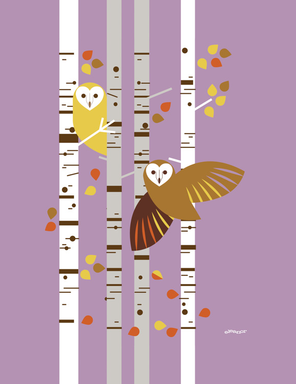 Forest Owls Birch