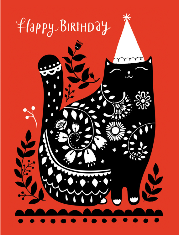 Happy Birthday hat cat - card <br> Red Cap Cards