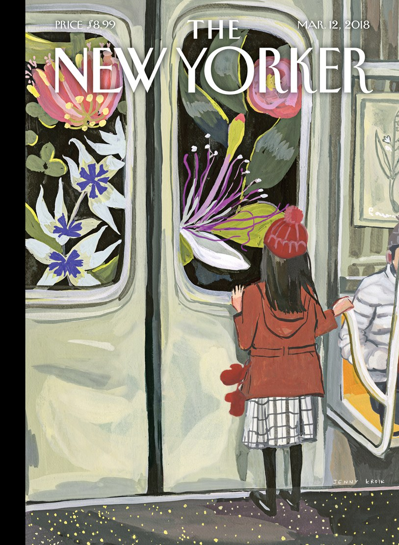 """I'm on the subway all the time,"" the artist Jenny Kroik says, about her inspiration for this week's cover. ""It's a great place to let your imagination loose and get ideas. You're surrounded by so many people and stories.""  ""I saw a young girl glued to the window, fascinated by the tunnel,"" Kroik continues. ""It got me thinking about how one's imagination is always active when you're a kid. I started wondering, what can she possibly see? Beautiful flowers? I tried to see the tunnel through her eyes."""