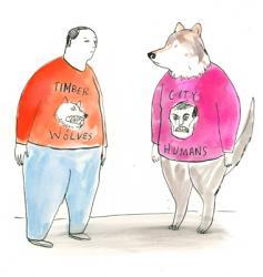 NMA 2010 - ARTIST: Graham RoumieuTITLE: Timber Wolves vs. City HumansCLIENT: Canadian Business