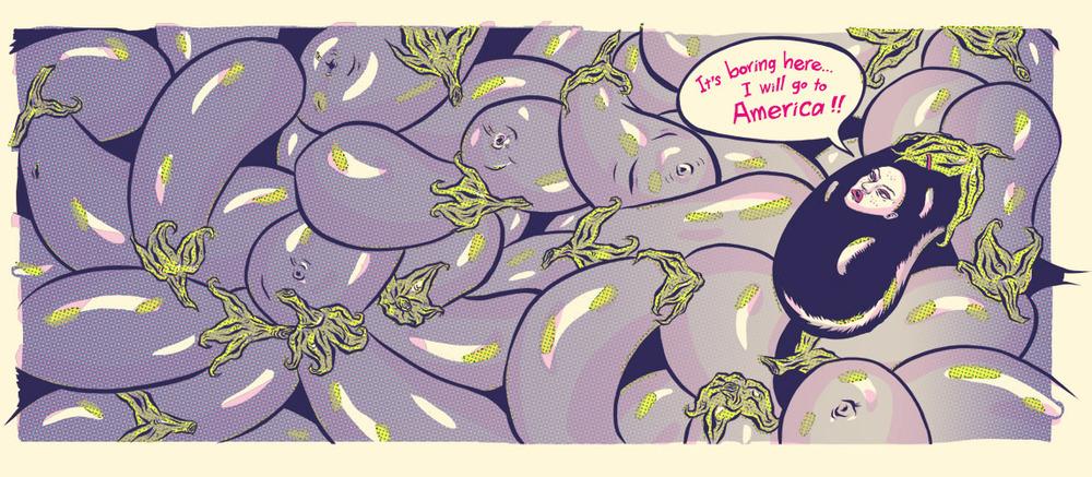 ADC 90 2011 Gold, SOILA 48 Silver, Print 2011, SOI 53 2011, AI 30 2011, CQ 22 - ARTIST: Jungyeon RohTITLE: Miss Eggplant's American Boys [2 of 15]