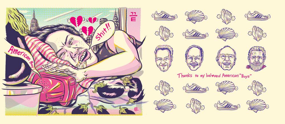 ADC 90 2011 Gold, SOILA 48 Silver, Print 2011, SOI 53 2011, AI 30 2011, CQ 22 - ARTIST: Jungyeon RohTITLE: Miss Eggplant's American Boys [15 of 15]