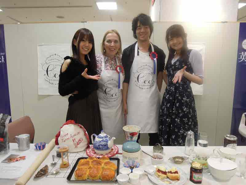 Photo provided by: Caron Cooper/Fosse Farmhouse;  image shows The Japanese voice actress of 'Alice' Manami Tanaka, Caron Cooper, Anime fan Yuki Inoue, voice actress of 'Shinobu' Asuka Nishi at Caron's scone cooking class in Nagoya Japan, last year.
