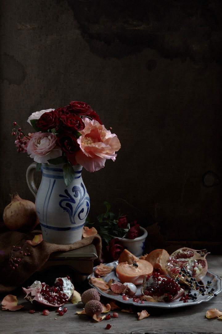 Ranunculus and Pomegranate. 2015. 33x48. Edition of 25.