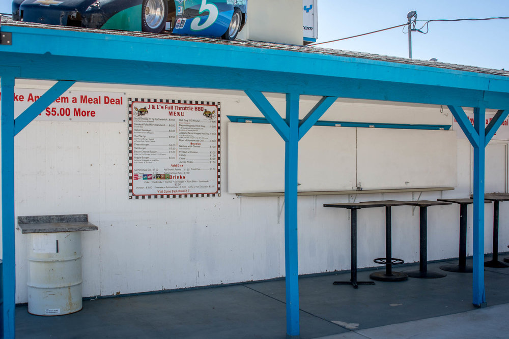 Our spectator concession stand, operated by J&L Full Throttle BBQ.