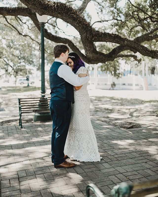 These beautiful souls hired me for their wedding in April of next year. They called me and told me they didn't want to wait. They were planning on a very small ceremony in Houston in just a few weeks and that their original date was going to be their vow renewal. Thankfully I didn't have anything scheduled, so I packed up and drove down to Houston to document this intimate ceremony.  It was just Molly and I, and we had so much fun together. I want her to grow up, traveling with me, and witnessing what it is like to document love stories. I want her to see that it is possible to live your dream and actually make it come true. It's possible to be successful and do what you love, no matter what people say or who might stand in your way.  This image was right after their first look. They have an amazing love for each other that even a stranger could see. They are professional vapors (jk that's not a thing... they met in a vape shop) and they are honestly just a couple of badasses!