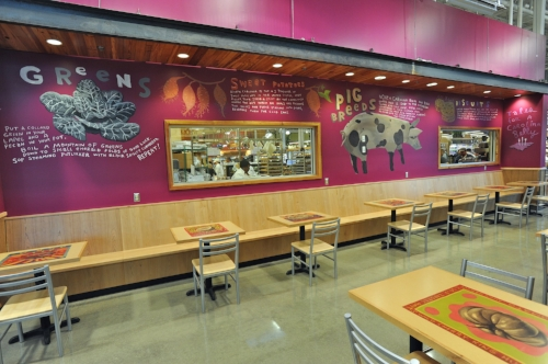 """Tales of a Carolina Belly"" North Raleigh store bespoke café mural and table toppers."