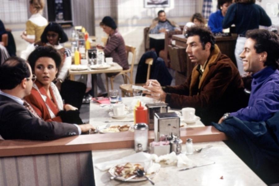 The Seinfeld cast in Tom's Restaurant.