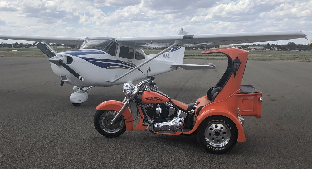 For the ultimate ride and fly experience combine your flight with a Thunderstruck Trike ride through historic Kalgoorlie - or even just a pickup from your home or hotel. Ask us how?