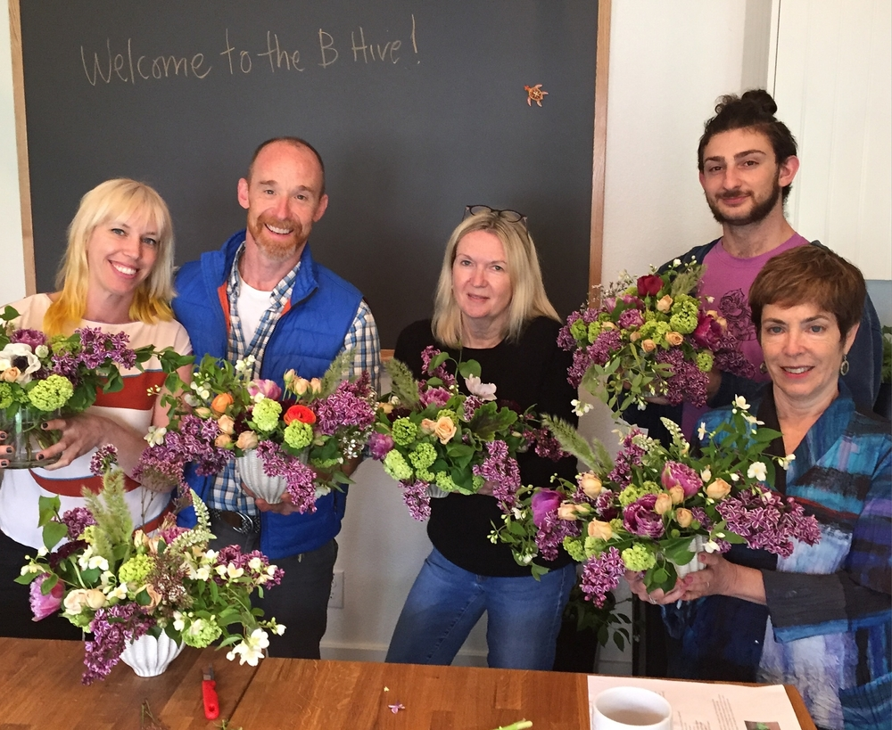 Instructor Nicole and The B with students from the April Lush Gardens Workshop.
